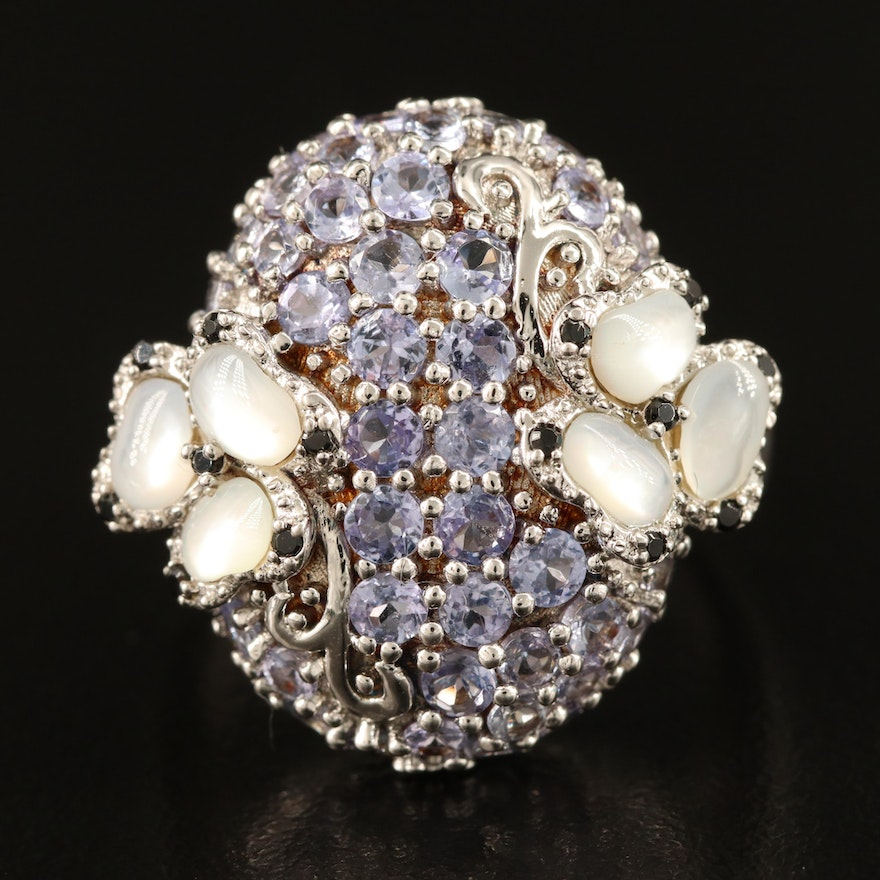 Sterling Silver Mother of Pearl, Tanzanite and Spinel Cluster Ring