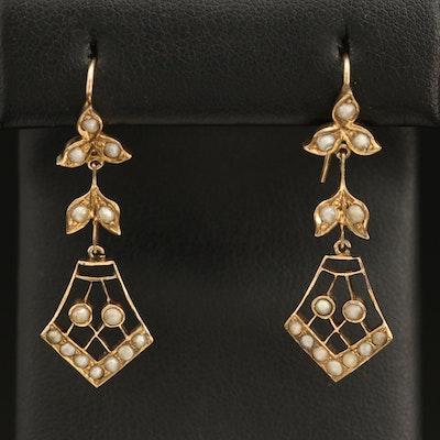 Victorian 9K Seed Pearl Foliate Drop Earrings