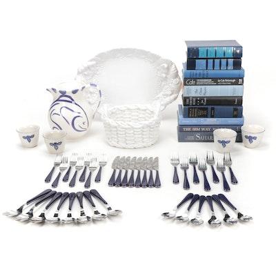 Ceramic Serveware With Coordinating Flatware and Decorative Books