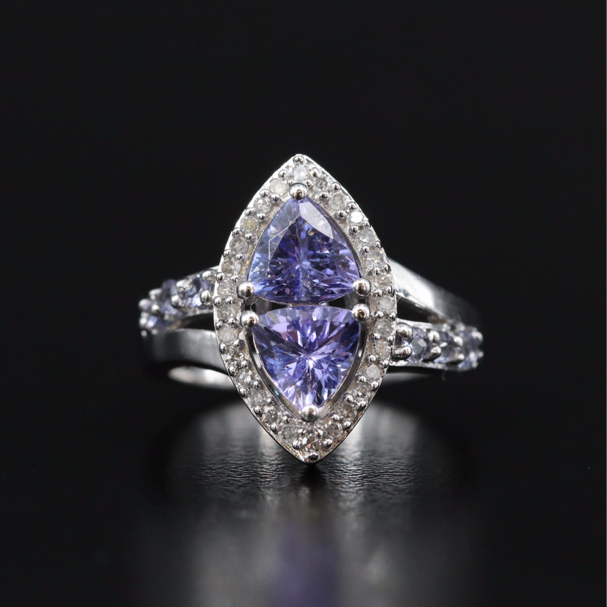 Sterling Silver Tanzanite and Diamond Navette Ring