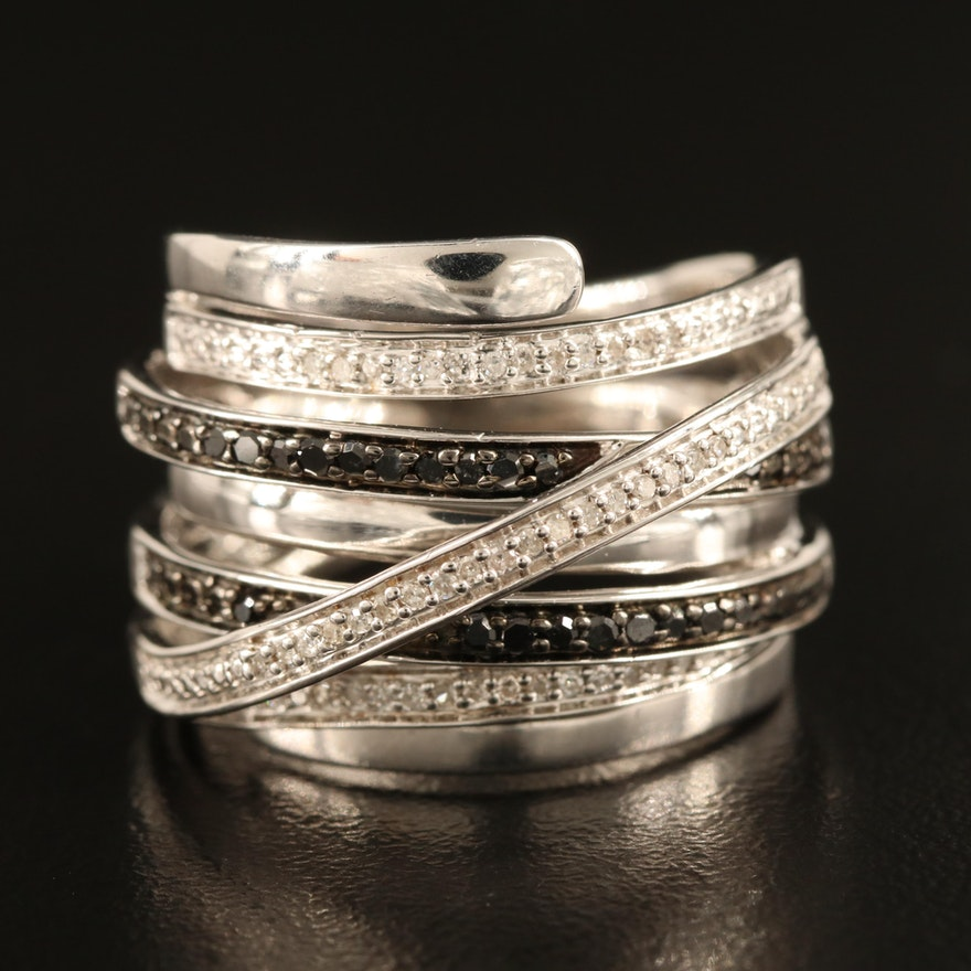 Sterling Silver Diamond Crossover Wrap Ring