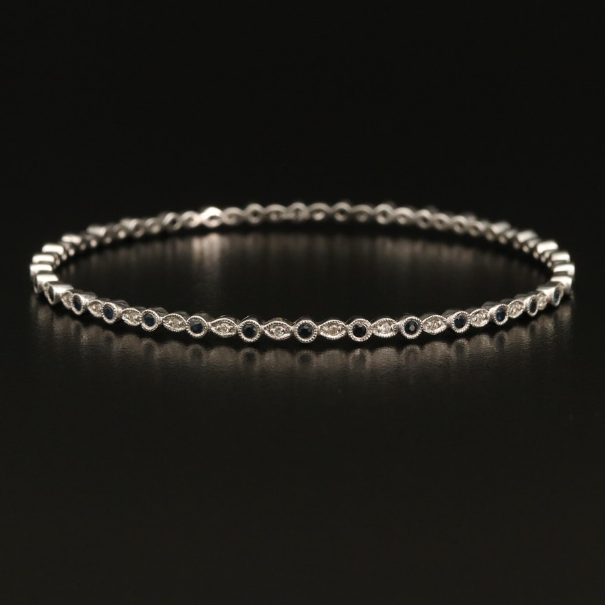 14K Sapphire and Diamond Bangle with Milgrain Borders