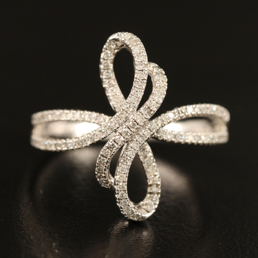Sterling Silver Diamond Bypass Scroll Ring