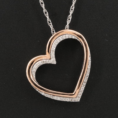 Sterling Silver Diamond Open Heart Pendant Necklace with 10K Rose Gold Accent