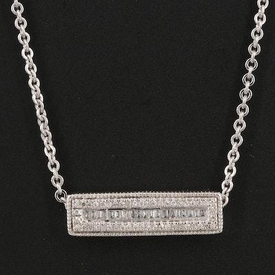 Sterling Silver Diamond Bar Necklace