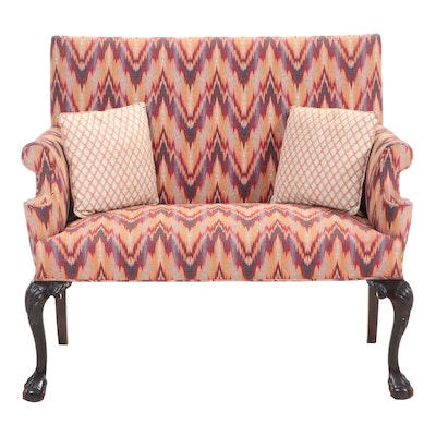 Chippendale Style Mahogany Settee in Flamestitch, Early to Mid 20th Century