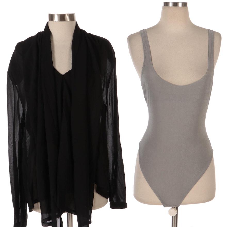 Giorgio Armani Black Silk Blouse and Silver Gray Metallic Bodysuit