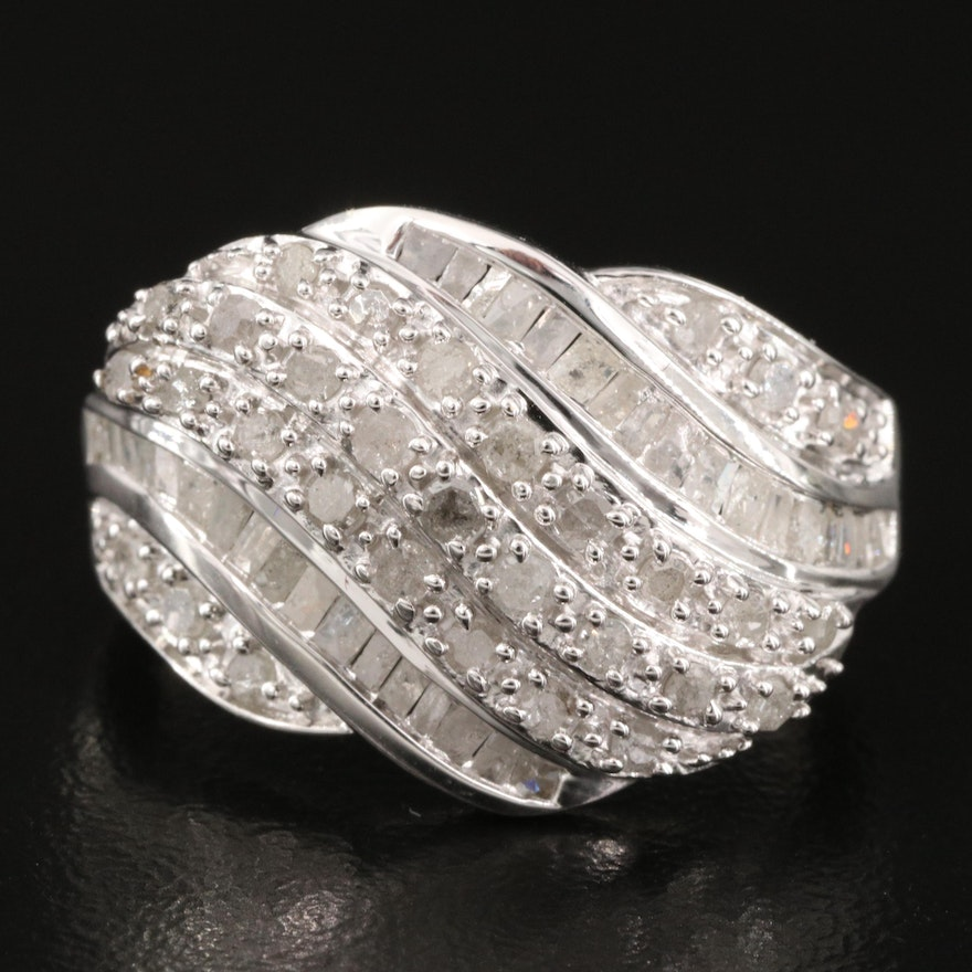 Sterling Silver 1.02 CTW Diamond Wave Ring