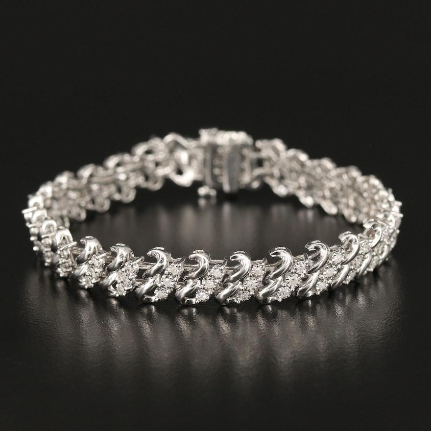 Sterling 1.02 CTW Illusion Set Diamond Bracelet