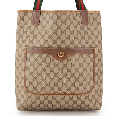 Gucci Tall Tote Bag in GG Supreme Canvas with Web Strap and Leather Trim
