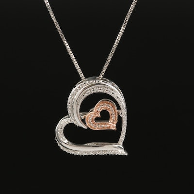 Sterling Diamond Double Heart Necklace with Fluttering 10K Rose Gold Accent
