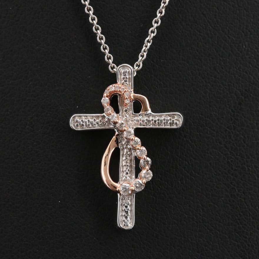 Sterling Diamond Cross with 10K Rose Gold Infinity Accent Pendants Necklace