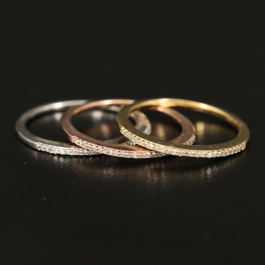 Sterling Diamond Stackable Bands