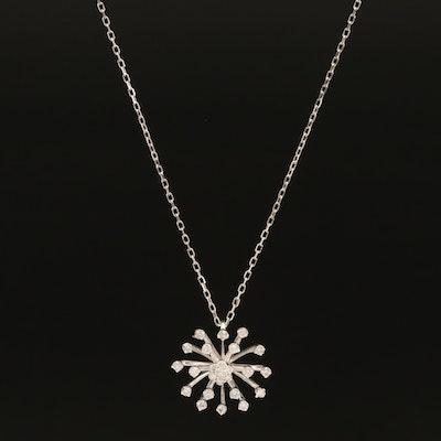 Sterling Diamond Burst Pendant Necklace
