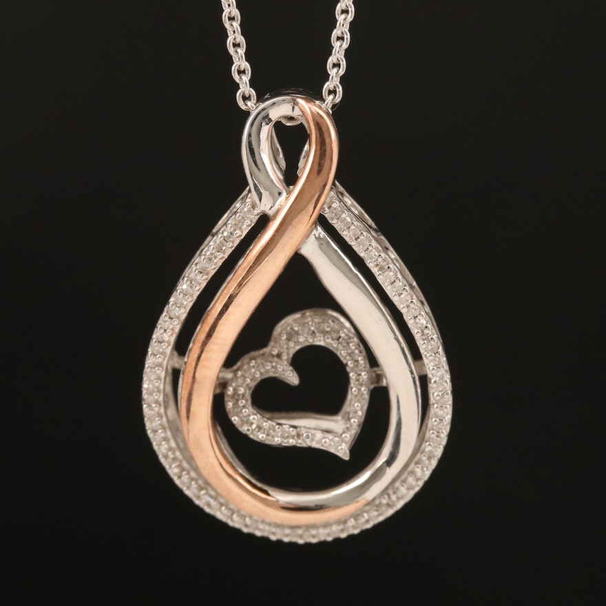 Sterling Diamond Fluttering Heart Pendant Necklace with 10K Rose Gold Accents