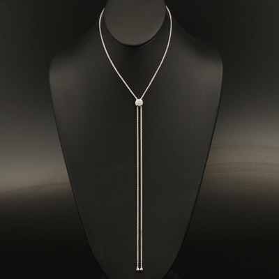 Sterling Diamond Cluster Bolo Necklace