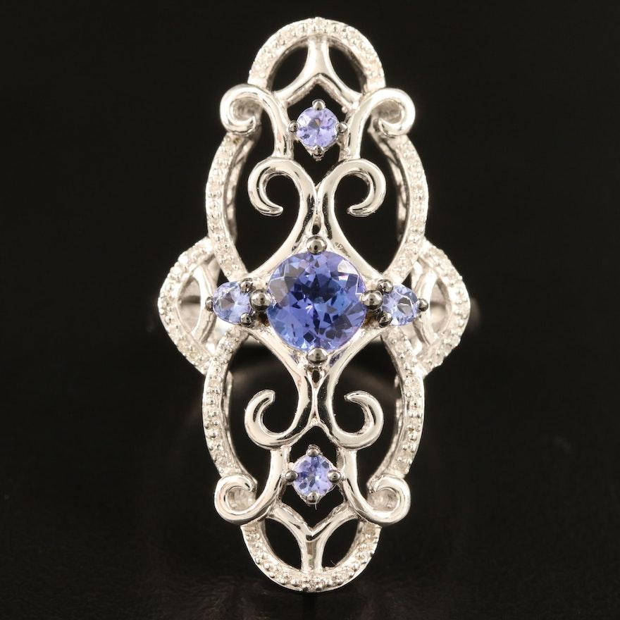 Sterling Tanzanite and Diamond Openwork Ring