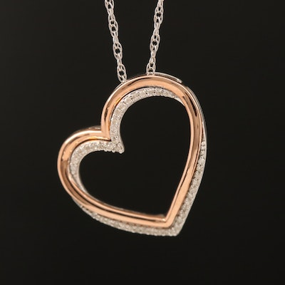 Sterling Diamond Heart Pendant Necklace with 10K Rose Gold Accent