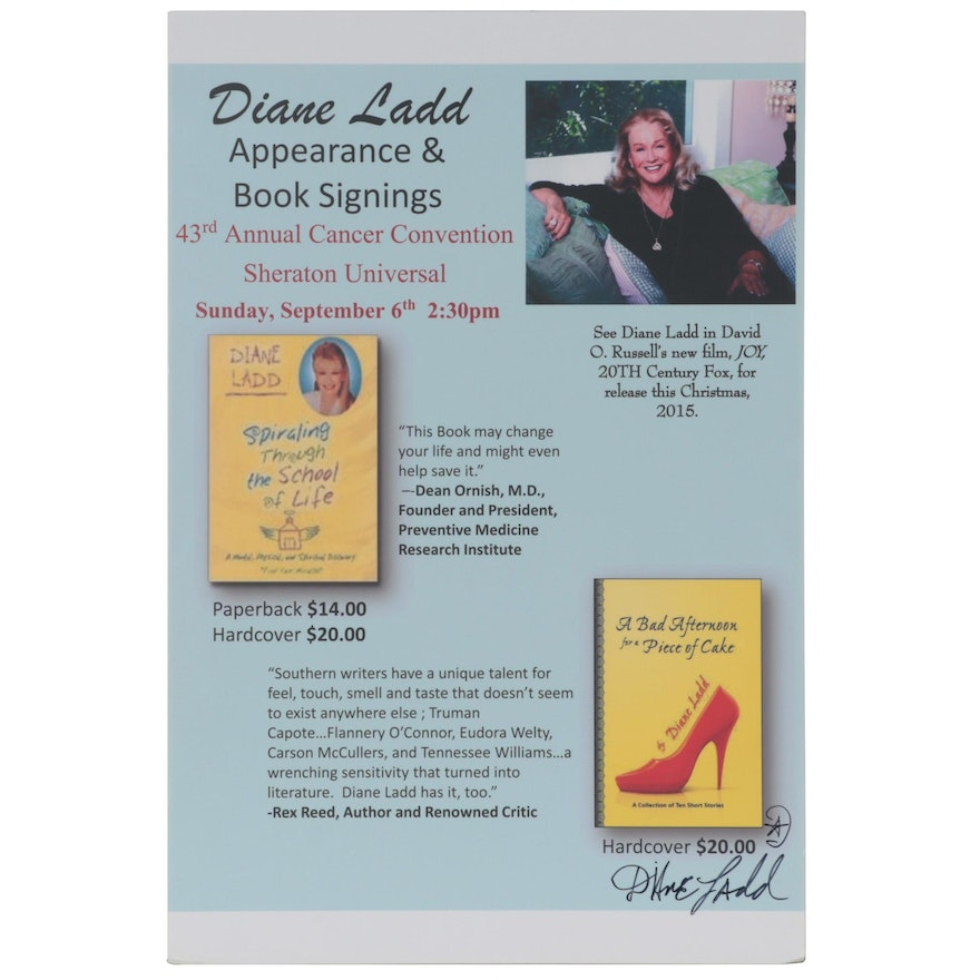 Diane Ladd Signed Appearance and Book Signing Advertising Broadside