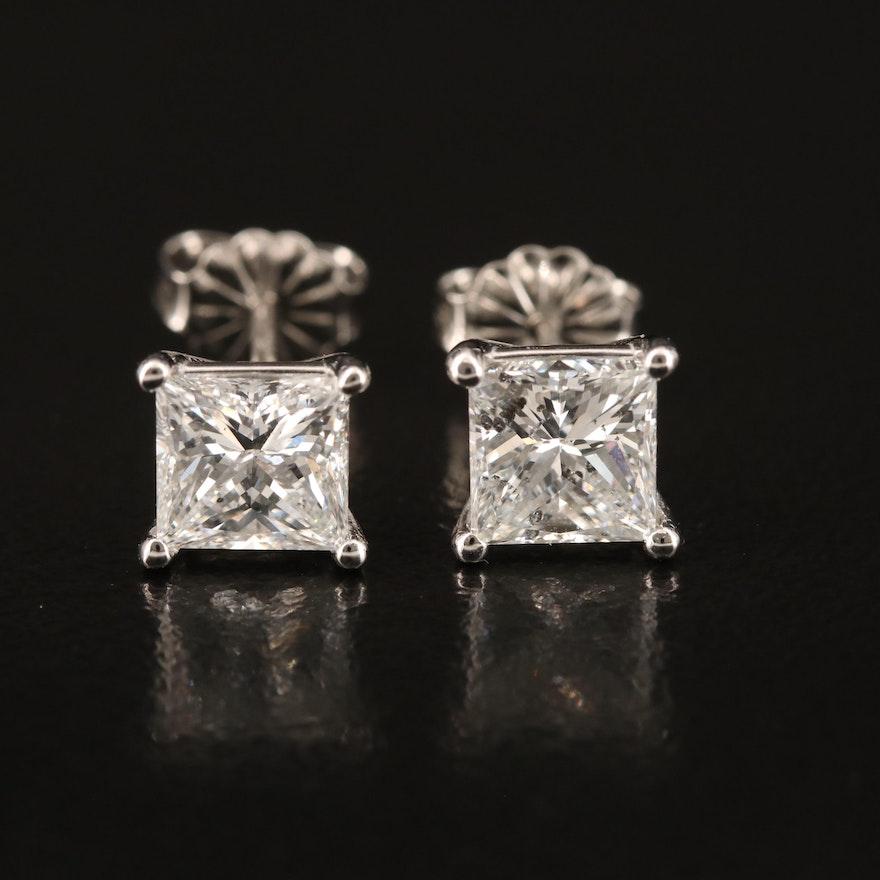 Platinum 2.13 CTW Diamond Stud Earrings with GIA eReports