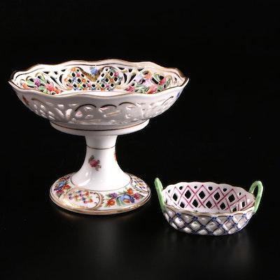 """Herend """"Blue Garland"""" Porcelain Basket and Dresden Porcelain Compote"""
