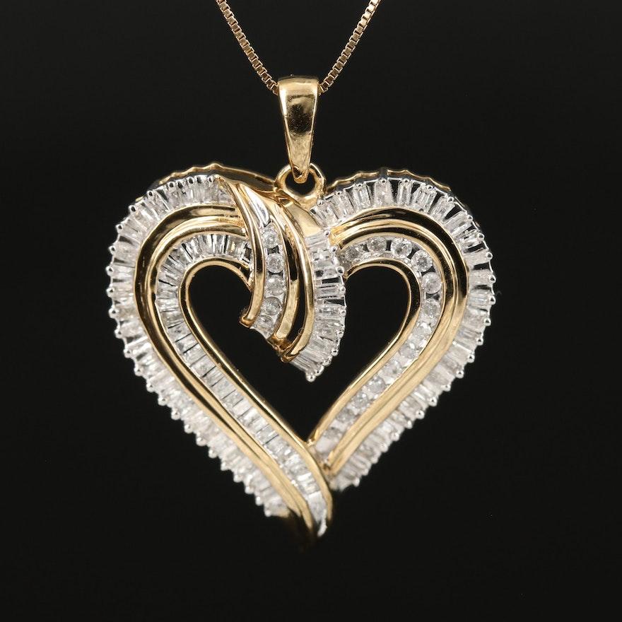 Sterling Silver 1.02 CTW Diamond Heart Pendant Necklace