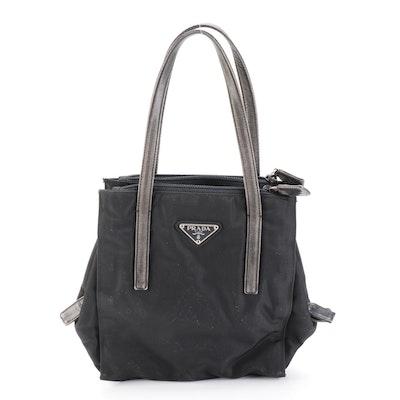 Prada Handbag in Black Tessuto Nylon with Leather Trim