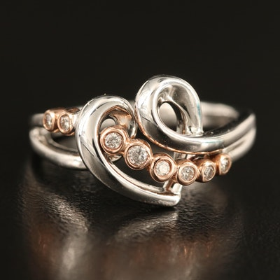 Sterling Diamond Heart Ring with 10K Rose Gold Accents
