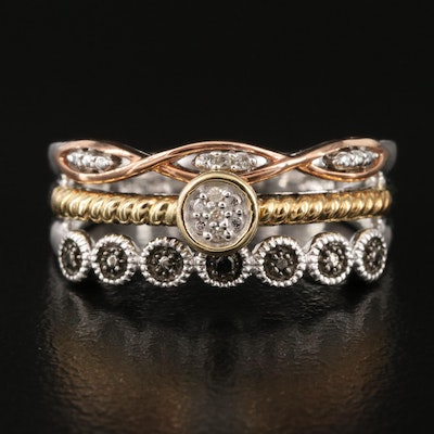 Sterling Diamond Multi-Row Ring with 10K Accents