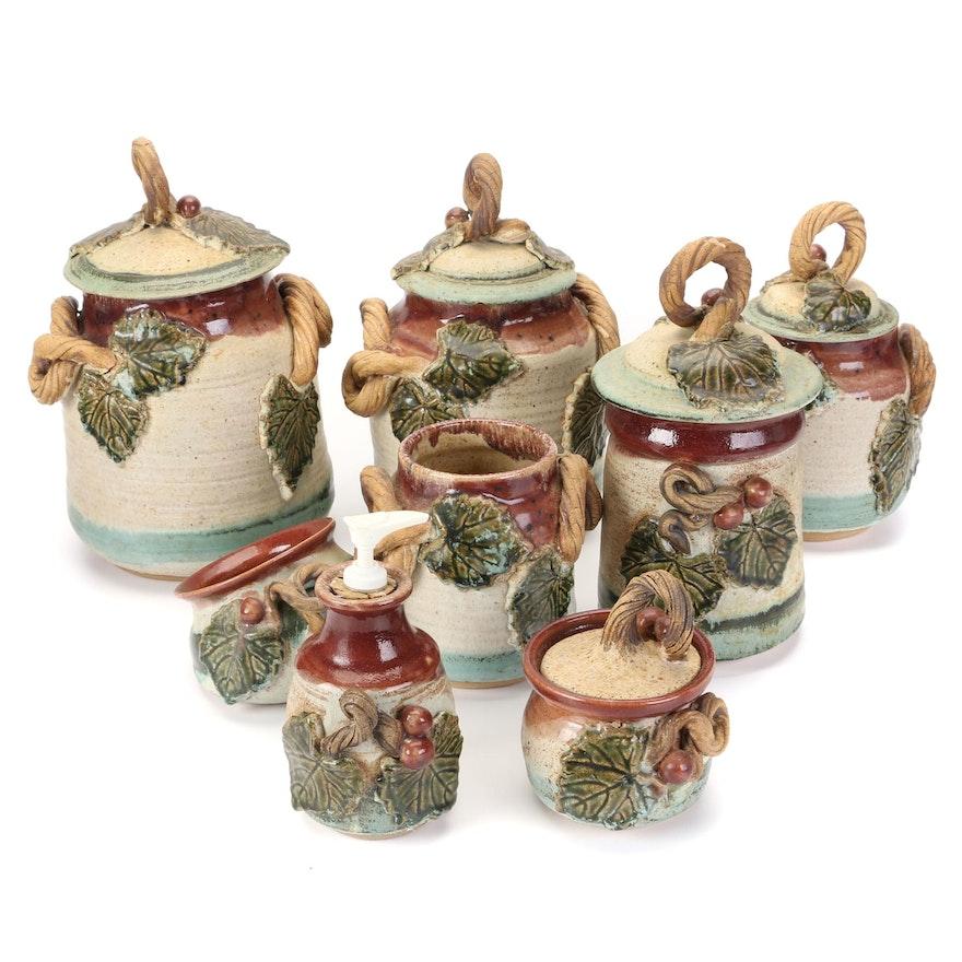 Sally Douglas Hand Thrown Grape Vine Earthenware Jars and Soap Dispenser