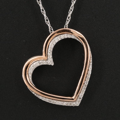 Sterling Diamond Heart Pendant Necklace with 10K Accent