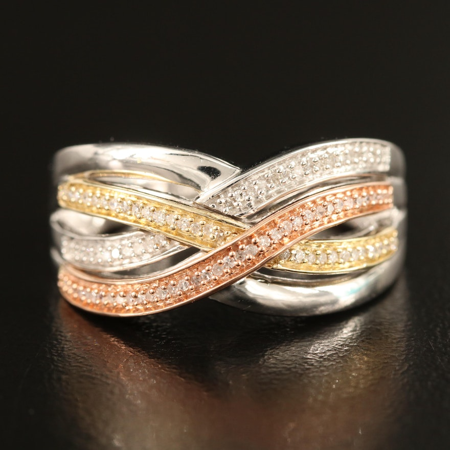 Sterling Diamond Crossover Band with 10K Accents