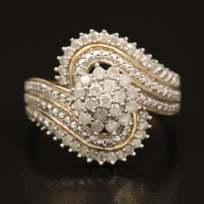 Sterling Diamond Cluster Multi-Row Ring