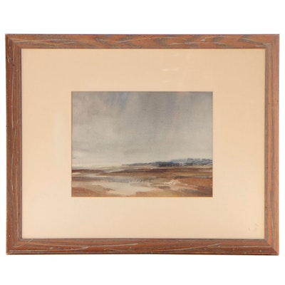 Sir William Russell Flint Landscape Watercolor Painting, Mid-20th Century