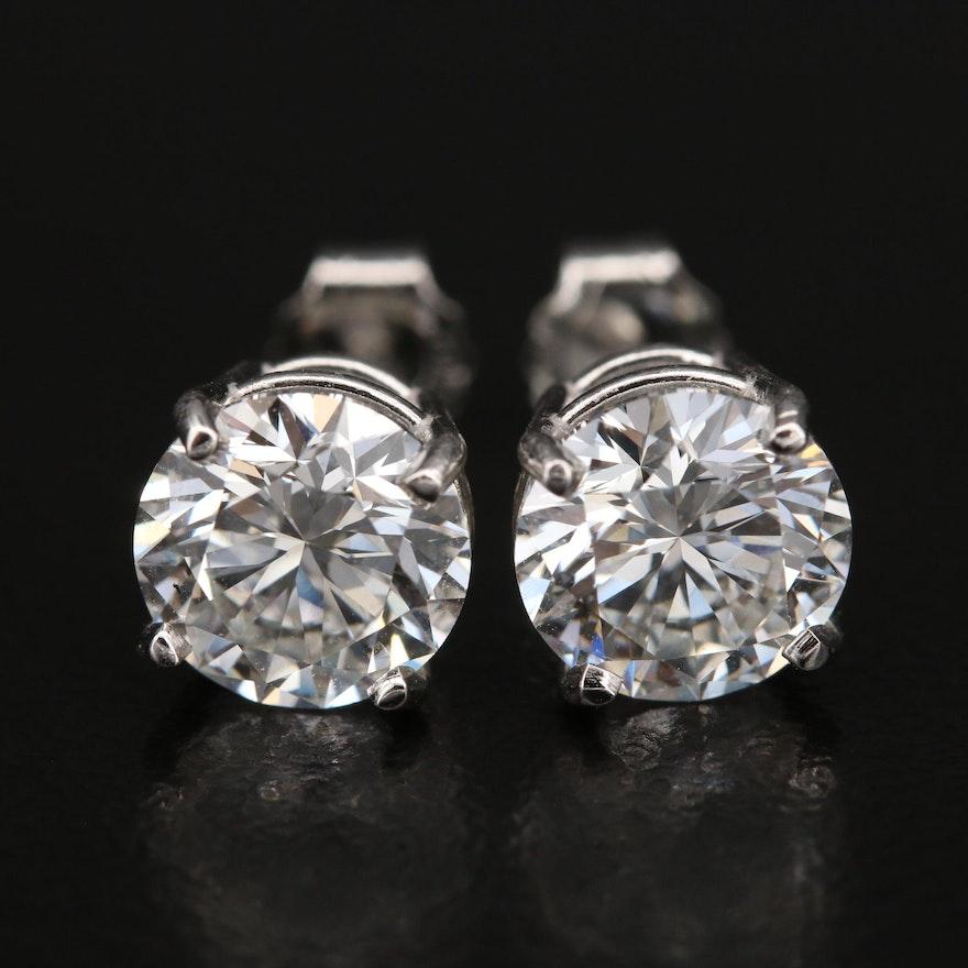 Platinum 3.00 CTW Diamond Earrings with IGI Reports