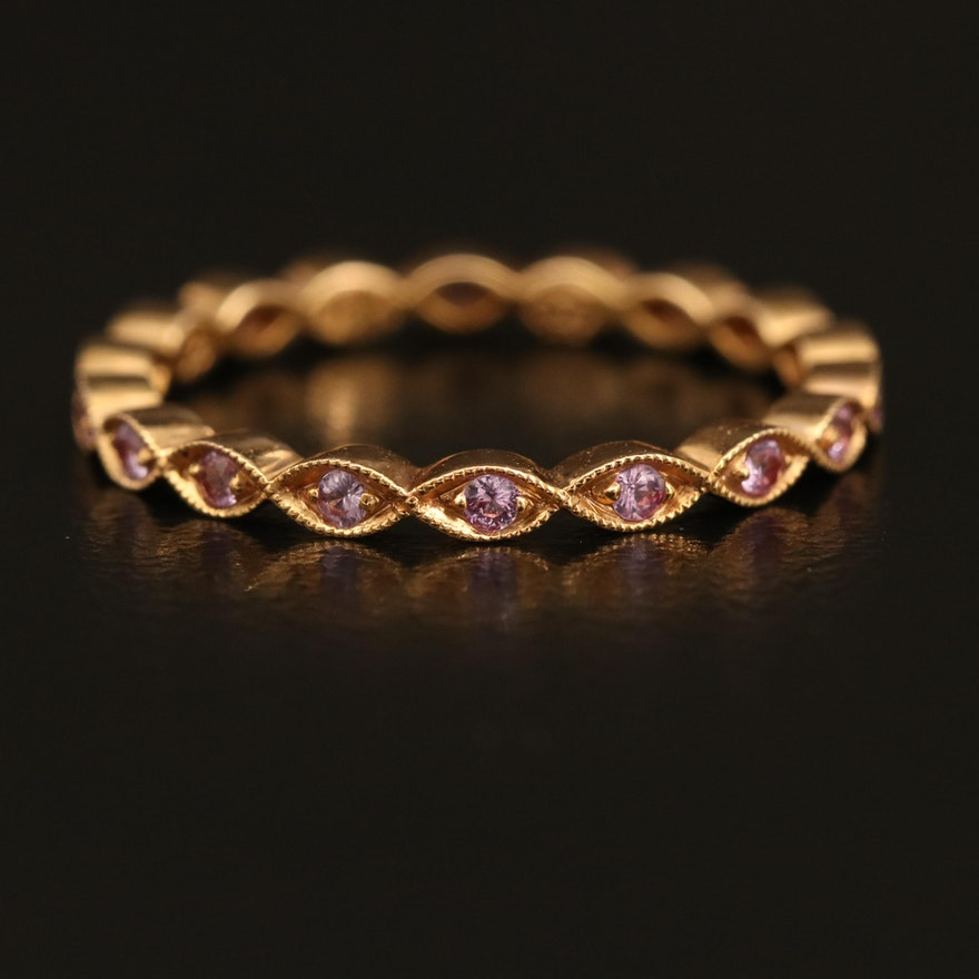 18K Rose Gold Sapphire Eternity Band