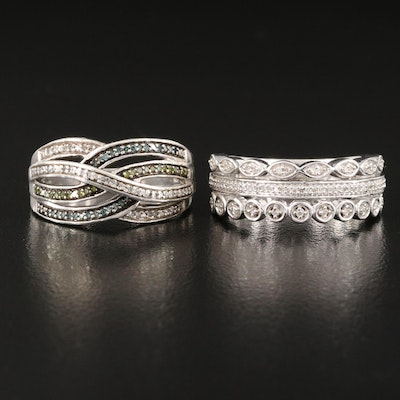 Sterling Silver Diamond Crossover and Three Row Rings