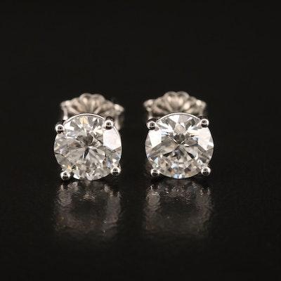 Platinum 2.33 CTW Diamond Stud Earrings with IGI Reports