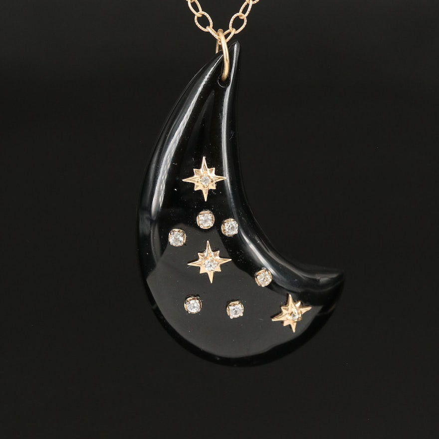 14K Onyx and Sapphire Crescent and Stars Necklace Attributed to Emily and Ashley