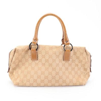 Gucci GG Canvas and Tan Leather Handbag