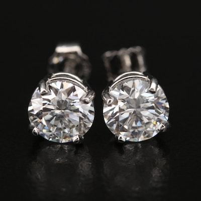 Platinum 2.30 CTW Diamond Earrings with IGI Reports