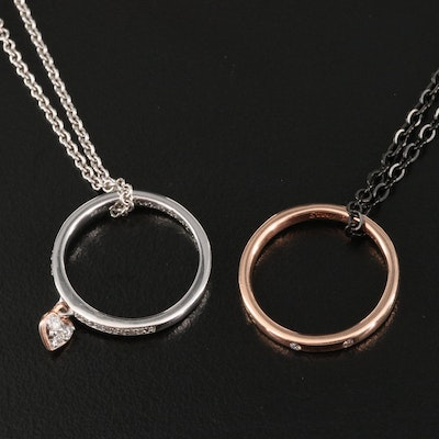 Ring Pendant Necklaces Featuring Diamonds, 14K, Sterling and Stainless Steel