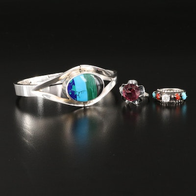 Mexican Sterling Hinged Bangle and Rings Featuring Carlisle Jewelry Co.