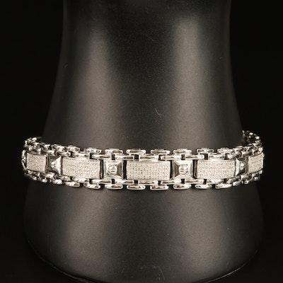 Sterling Diamond Link Bracelet
