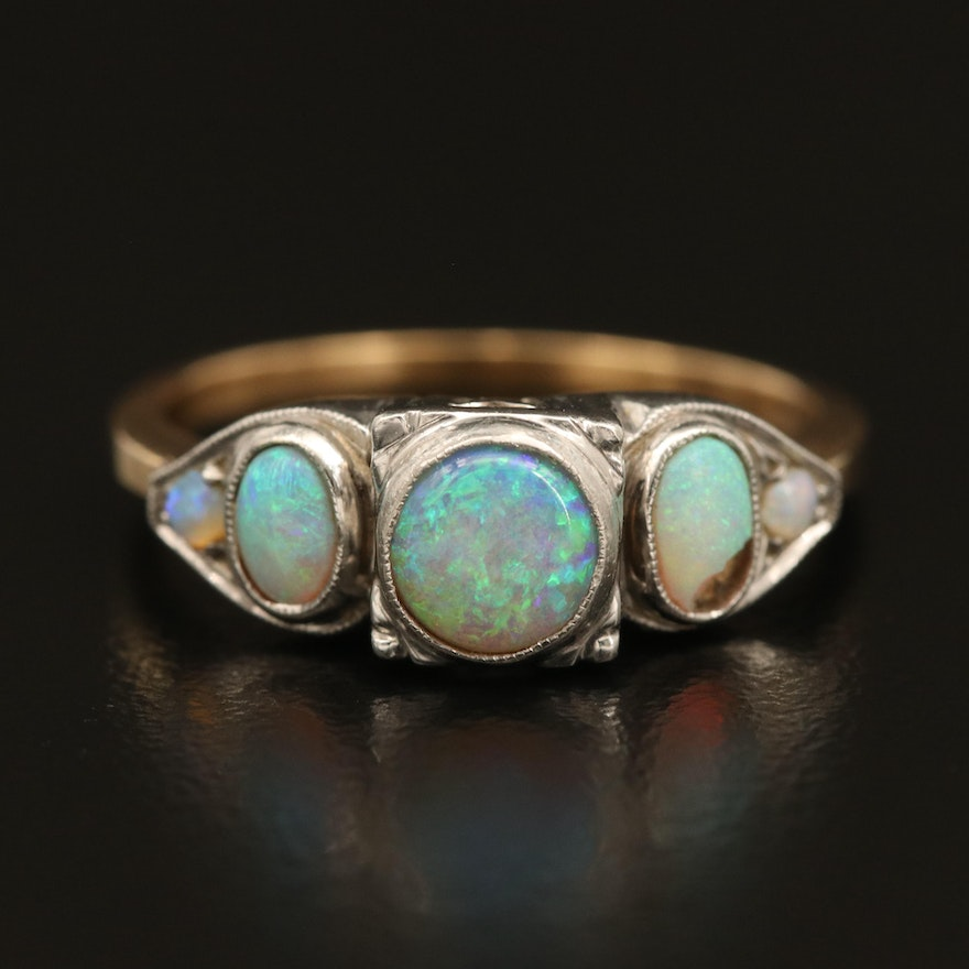 1940s 14K and Palladium Opal Ring with 10K Shoulders and Milgrain Detail