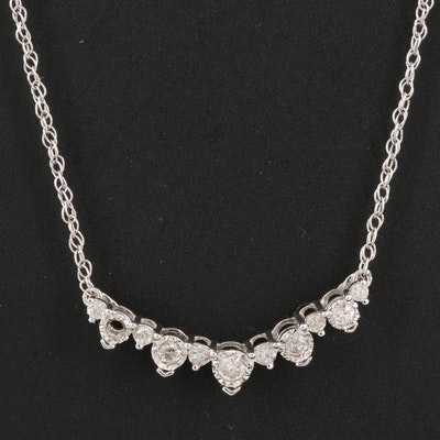 Sterling Diamond Invisible Set Necklace