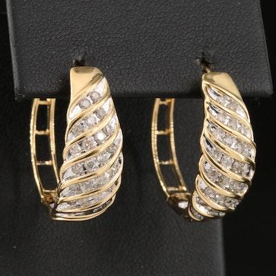 Sterling 1.02 CTW Diamond Twisted Hoop Earrings