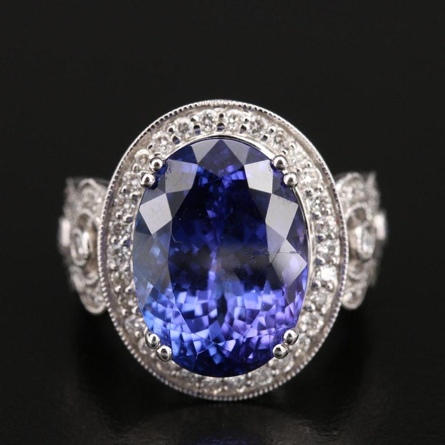 14K 11.45 CT Tanzanite and 1.07 CTW Diamond Openwork Ring with Milgrain Detail