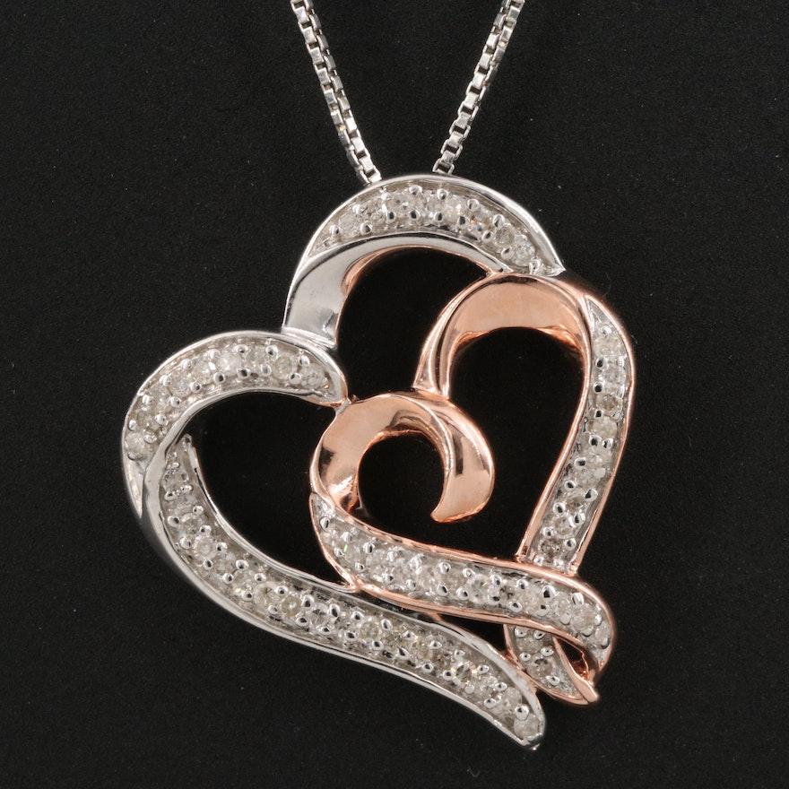 Hallmark Sterling Diamond Double Heart Pendant Necklace