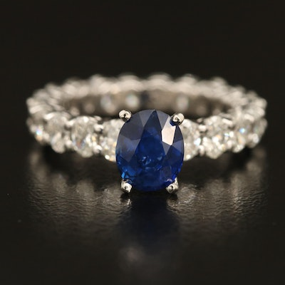 Platinum 1.72 CT Sapphire and 2.75 CTW Diamond Eternity Ring with GIA Report